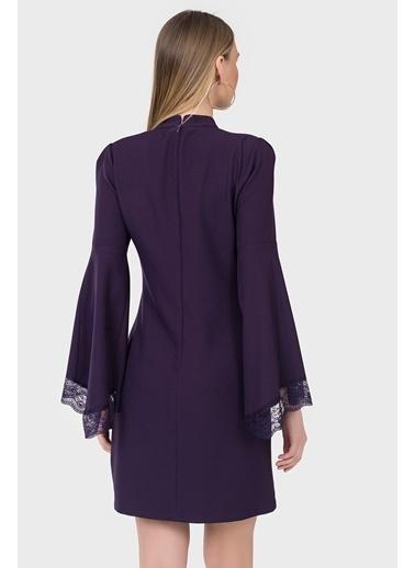 İroni İspanyol Kol Dantel Detaylı Elbise Mor